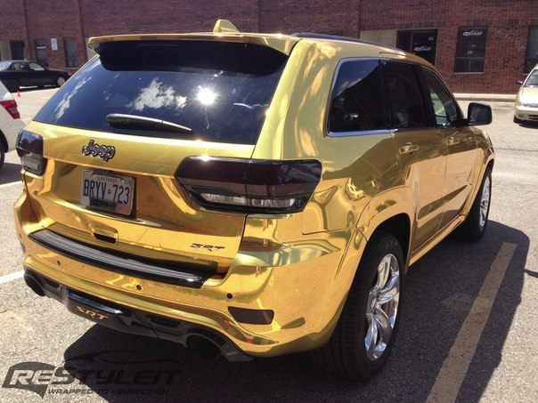 Jeep Grand Cherokee SRT8 Wrapped in Gold Chrome